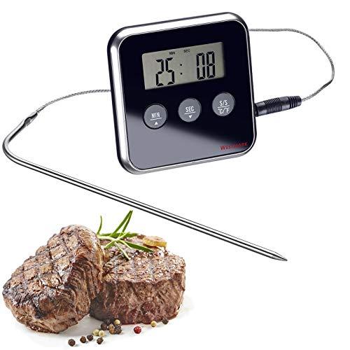 Westmark Digitale braadthermometer, met alarm, om op te hangen of neer te zetten, roestvrij staal/kunststof, zilver/zwart, 12912280