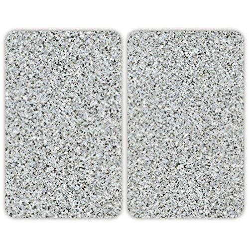 Wenko Fornuis afdekplaat Universal Graniet set van 2 set van 2, kookplaatafdekking en glazen snijplank voor alle warmtebronnen, gehard glas, 30 x 1,8-5,5 x 52 cm, meerkleurig