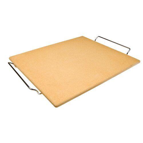 IBILI pizzasteen rechthoekig, keramiek, oranje/zilver, 41 x 36 x 1,5 cm