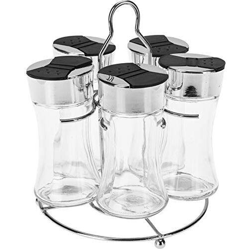 BEDO TRADE Kruidencarrousel/kruidenrek opslag voor specerijen, 5 glazen en zwarte deksels