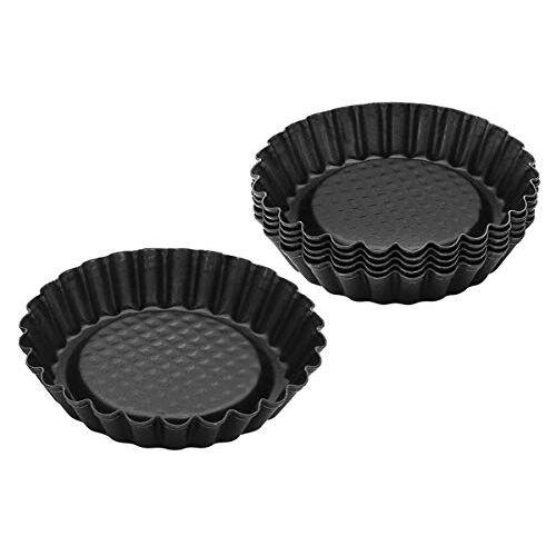 Zenker bakvormen set bestaand uit 6 herbruikbare non stick mini pannen/ mini bakvormen Ø 10 cm, geribbelde mini taartvormen voor quiches, pudding en mini cakes (Kleur: zwart)