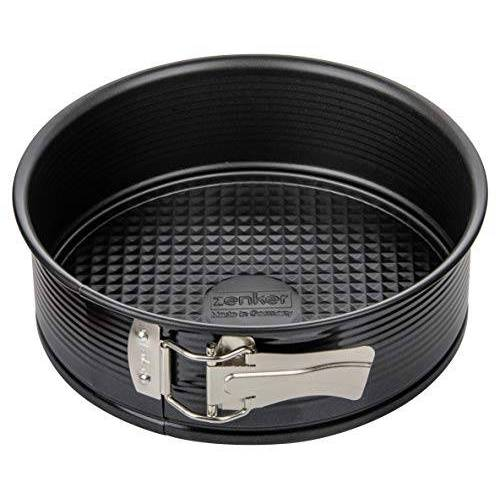 Zenker springvorm Ø 20 cm is een stalen MINI taartvorm met lekbescherming en anti-aanbaklaag, ronde taartvorm met platte bodem (Kleur: zwart), Aantal: 1 stuk