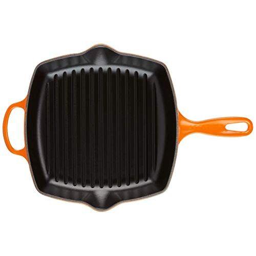 Le Creuset Handtekening geëmailleerd gietijzer grillit koekenpan met helper handvat en twee giet lippen, voor alle soorten kookplaat en ovens, 26 cm, vulkanisch, 201832609