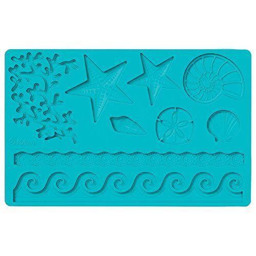 Wilton fondant en gum pasta Mold Sea Life siliconen vorm, silicone, blauw, 12 x 25 x 0,5 cm