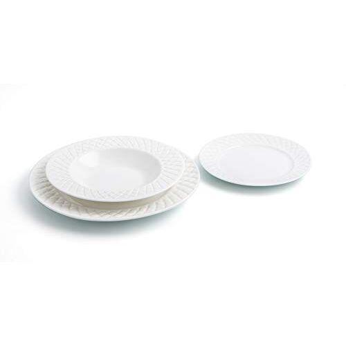 Bidasoa Optische porseleinen serviesgoed Set voor 6 personen, reliëf oppervlak, wit