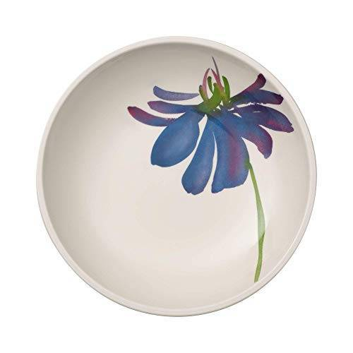 Villeroy & Boch Artesano Flower Art Schaal, platte dessertschaal met bloemendecoratie, premium porselein, wit/bont, 23,5 cm, 1100 ml