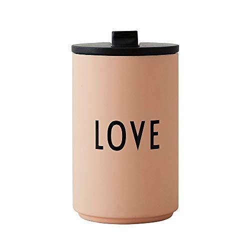 Design Letters 30101003LOVE Thermo/Geïsoleerde Cup Love (Naakt), roestvrij staal, 350 milliliter
