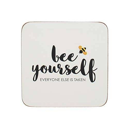 "Creative C000447 drankonderzetters OTT""Bee Yourself"", wit, 10,5 cm, 4 stuks"