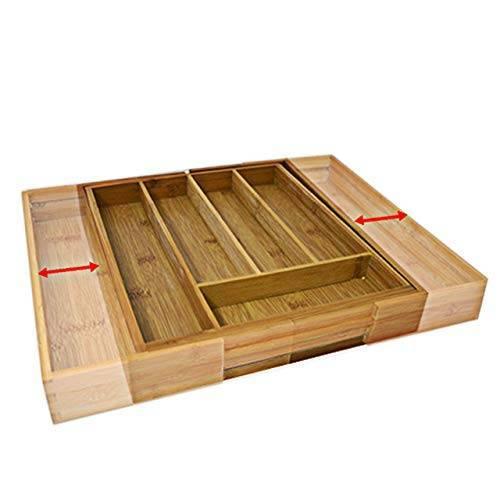 Relaxdays Houten Bestekbak, Uittrekbaar, als Keukenorganizer, Lade-Inzetstuk 33,5 x 29-48 x 5 cm, Bruin