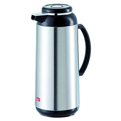 Melitta thermoskan met schroefsluiting, 1,9 l, ca. 15 kopjes, glazen kolven, roestvrij staal, zilver/zwart