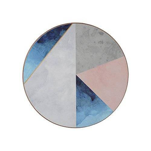 """Creative """"Geometric Palette"""" Bedrukte, ronde drankonderzetters met kurkachterkant, 12 cm – blauw/grijs (set van 4)"""