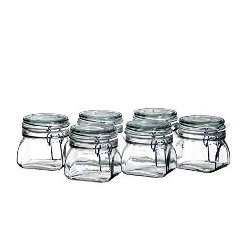 MÄSER Gothika, 925338, inmaakpotten, klein, made in Germany, set van 6 à 500 ml, voorraadpotten met deksel en draadbeugel voor luchtdicht bewaren, inmaken en inleggen, glas, transparant