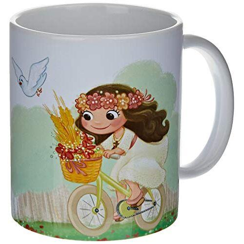 Mopec G912.2.1 keramiek mok meisje communie op fiets, porselein