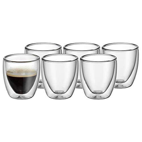 WMF 901402000 Cult Espresso Set 6-delige dubbelwandige glazen 80 ml, thermoglazen, hittebestendig, vaatwasmachinebestendig