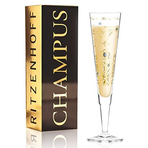 Ritzenhoff Champus champagneglas van Shari Warren, van kristalglas, 200 ml, met edele goud- en platina-aandelen, incl. stoffen servet