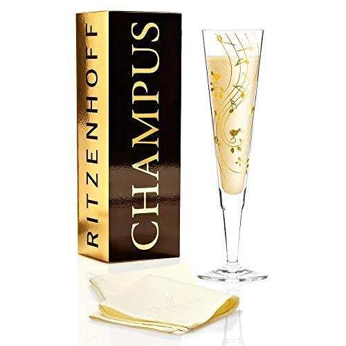 Ritzenhoff Champus champagneglas van Sibylle Mayer, van kristalglas, 200 ml, met edele gouden verhoudingen, incl. stoffen servet