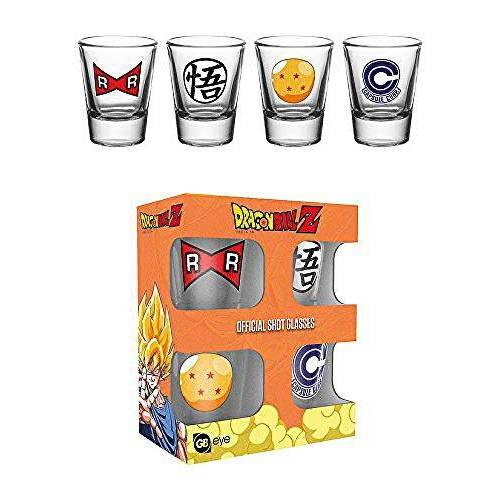 GB eye Dragon Ball Z Symbool glazen set shot glazen 4-delig in geschenkdoos 5 cl