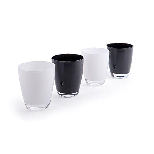 Excelsa Happy Colour bekerset, wit en zwart, 4 stuks