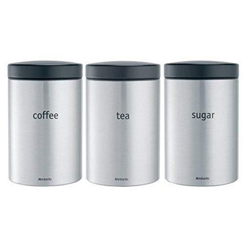 Brabantia Voorraadpotten Coffee/Tea/Sugar 1,4L Matt Steel FPP / Matt Black