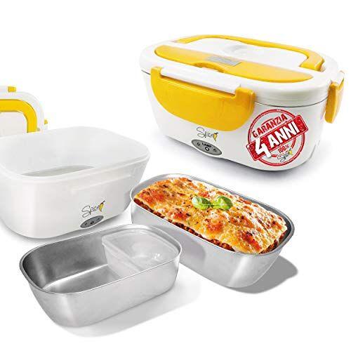 SPICE SPP013-GAR Voedselverwarmer met uitneembare roestvrijstalen bak, 40 W, 1,5 liter, inclusief voedselcontainer, geel/wit