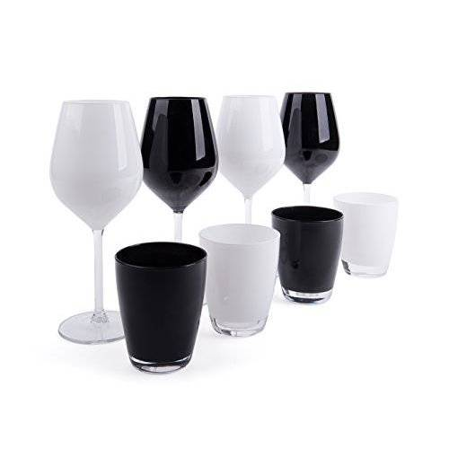 Excelsa Color Wine Set met glazen en glazen, glas, wit en zwart, 8 stuks