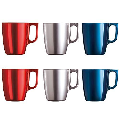 Luminarc Flashy koffiemokken met glazen handvat voor de magnetron