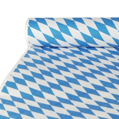 """PAPSTAR 43 papieren tafelkleed/tafelkleed met damast reliëf""""Bayrisch blauw"""", (20 stuks), 10 x 1 m, voor huishouden of outdoor-evenementen, voor bierbank, comfortabel op maat te snijden"""