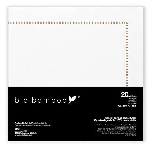 bio bamboo Organische Bamboe Organische Frame Goud 40x40 Wegwerp Servetten, Bamboe Viscose, Wit, Goud, Pack van 20