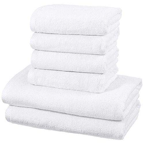 AmazonBasics sneldrogende handdoekenset, 2 badhanddoeken en 4 handdoeken wit