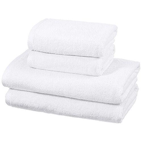 AmazonBasics sneldrogende handdoekenset, 2 badhanddoeken en 2 handdoeken wit