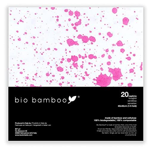 bio bamboo bio bamboe bio gevlekt 40x40 wegwerp servetten, bamboe viscose, wit, magenta, 20 eenheden