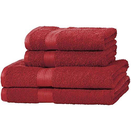 AmazonBasics kleurvaste handdoek-set, 2 badhanddoeken en 2 handdoeken, rood 500 g/m²