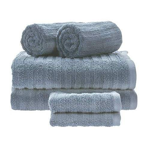 iDesign Set van 6 handdoeken met hanger, handdoekenset van 100% katoen met streepstructuur, handdoekenset met 2 handdoeken, badhanddoeken en washandjes, duifblauw