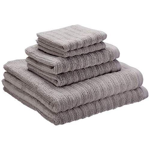 iDesign set van 6 handdoeken met hangers, handdoekenset van 100% katoen met strepenstructuur, handdoekenset met 2 handdoeken, badhanddoeken en washandjes, grijs