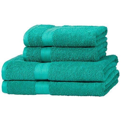 AmazonBasics kleurvaste handdoekenset van 2 badhanddoeken en 2 handdoeken, groen 500 g/m2