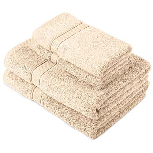 Pinzon door Amazon Handdoekenset van Egyptisch katoen, 2 badhanddoeken en 2 kleine handdoeken, crème, 600 g/m²