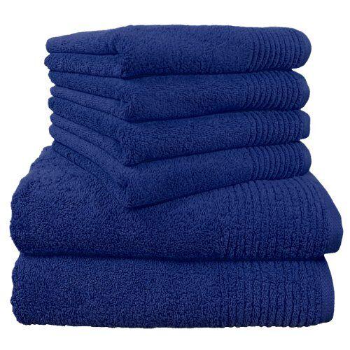 """Dyckhoff 0410996445 handdoekenset """"Brillant"""", 2 badhanddoeken / douchehanddoeken 70 x 140 cm en 4 handdoeken 50 x 100 cm, 6-delig, blauw"""