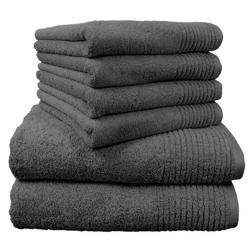 Dyckhoff 0410996125 Handdoekenset, 2 Badhanddoeken, 70 x 140 cm, 4 Handdoeken, 50 x 100 cm, 6-Delig, Grijs