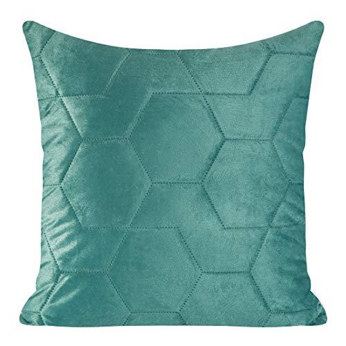 Eurofirany Kussensloop, kussensloop, bankkussen, bedkussen, kamerdecoratie, elegant, exclusief fluweel, geometrische patronen, donkerturquoise, 45 x 45 cm, 2 stuks