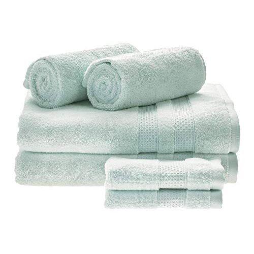 iDesign set van 6 badtextiel voor de badkamer of gastentoilet zachte handdoekenset van 100% katoen, handdoekenset met 2 handdoeken, badhanddoeken & washandjes, lichtblauw