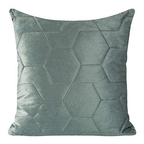Eurofirany Kussensloop, kussensloop, bankkussen, bedkussen, kamerdecoratie, elegant, exclusief fluweel, geometrische patronen, zilver, 45 x 45 cm, 2 stuks