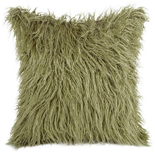 Eurofirany Kussensloop, kussensloop, sofakussen, bedkussen, kamerdecoratie, elegant, exclusief imitatiebont, pluizig wollig, olijfgroen, 45 x 45 cm, 2 stuks