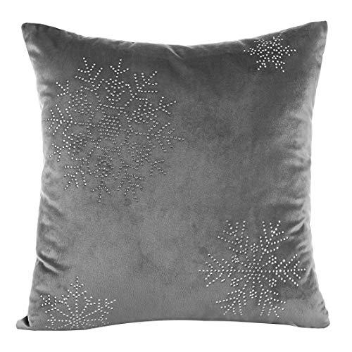 Eurofirany Kussensloop, kussensloop, sofakussen, bedkussen, kamerdecoratie, elegant, exclusief winterkristallen steentjes, sneeuwvlokken, Kerstmis, grafiet, 40x40 cm, 2