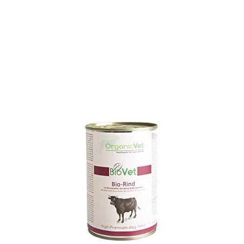 ORGANICVET BioVet Natvoer voor honden, biologisch rundvlees met biologische aardappel en biologische spinazie, verpakking van 6 (6 x 400 g)