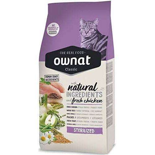Ownat Esterilized Classic Chicken Esterilized 15 kg  voor steriele katten met natuurlijke ingrediënten zonder conserveringsmiddelen en kleurstoffen, hoogwaardig voedsel in eiwitten.
