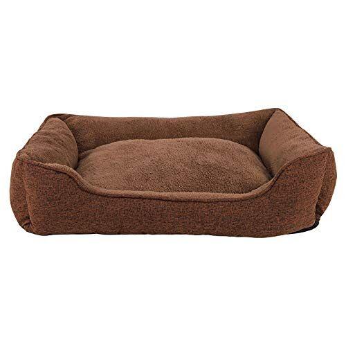 dibea Hondenbed gemêleerd hondenkussen hondenmand overtrek afneembaar (M) 90x75 cm bruin
