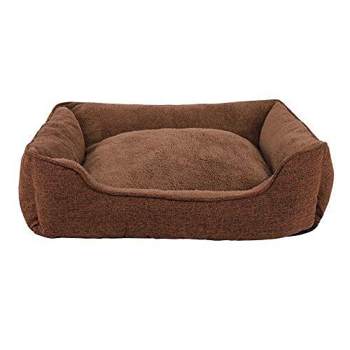 dibea Hondenbed gemêleerd hondenkussen hondenmand overtrek afneembaar (S) 75x60 cm bruin