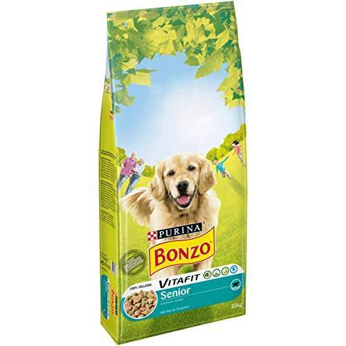 Bonzo Senior Hondenvoer, Hondenbrokken voor honden van 7 jaar en ouder, met Kip, 15kg