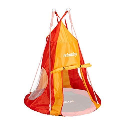 Relaxdays , rood-oranje tent voor nestschommel, overtrek voor schommelstoel tot 110 cm, ronde schommel accessoires, tuin schommelnest
