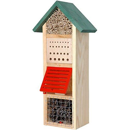 Luxus-Insektenhotels Luxe insectenhotels 22620e Grote insectenhoteltoren met spits dak, groen dak, insectenhuis voor nuttige insecten